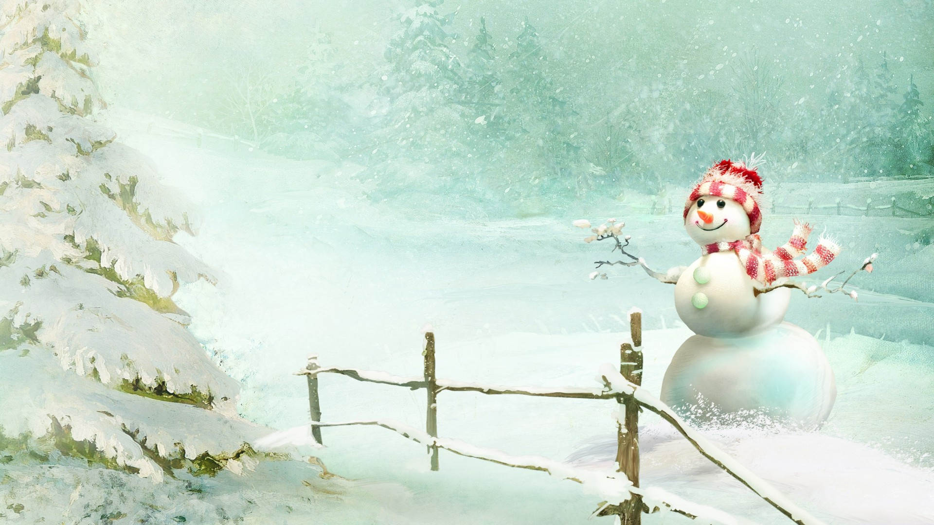Snowman-In-Snow-Winter-Wallpaper