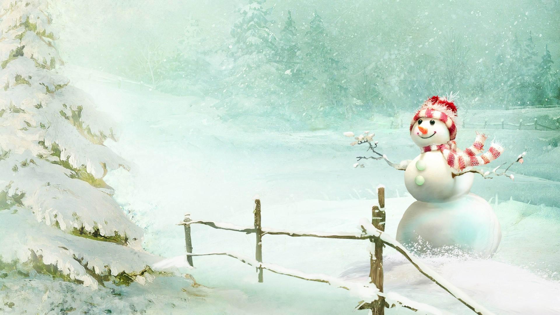 Snowman-In-Snow-Winter-Wallpaper