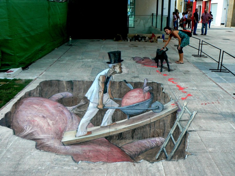 Мрачный объемный уличный рисунок от Eduardo Relero