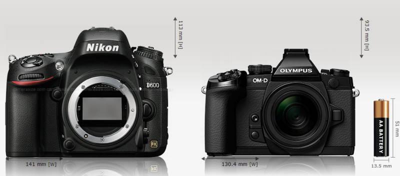 Сравнение габаритов Nikon D600 и