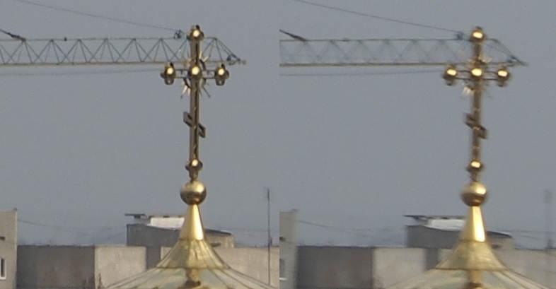 Слева стабилизация изображения включена, а справа выключена. f/14, ISO 100, 1/50 сек., 50 мм