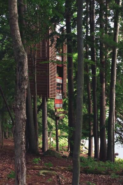 Стильный домик на дереве неподалеку от озера Маскока в Онтарио, Канаде