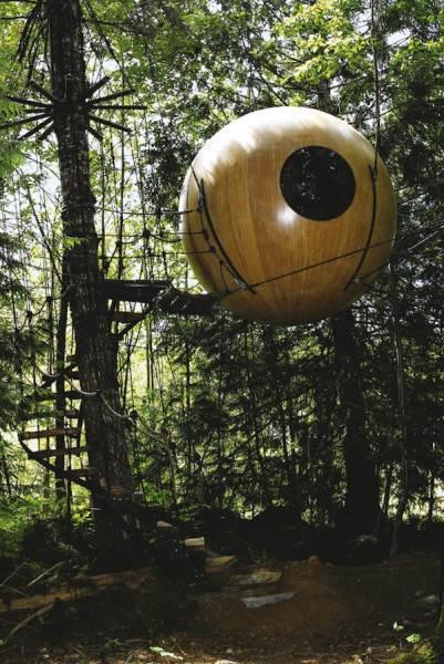 Шаровидный домик на дереве, разработанный Tom Chudleigh в Британской Колумбии, Канада