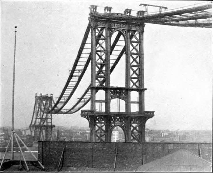 Фотография строящегося Манхэ́ттенского моста, 1909 год