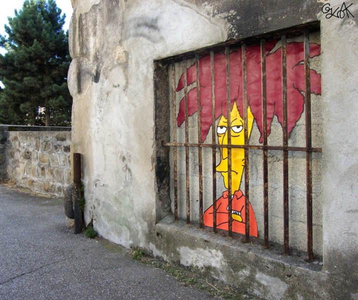 Еще один интересный стрит-арт в Сент-Этьене, во Франции. Автор Oakoak