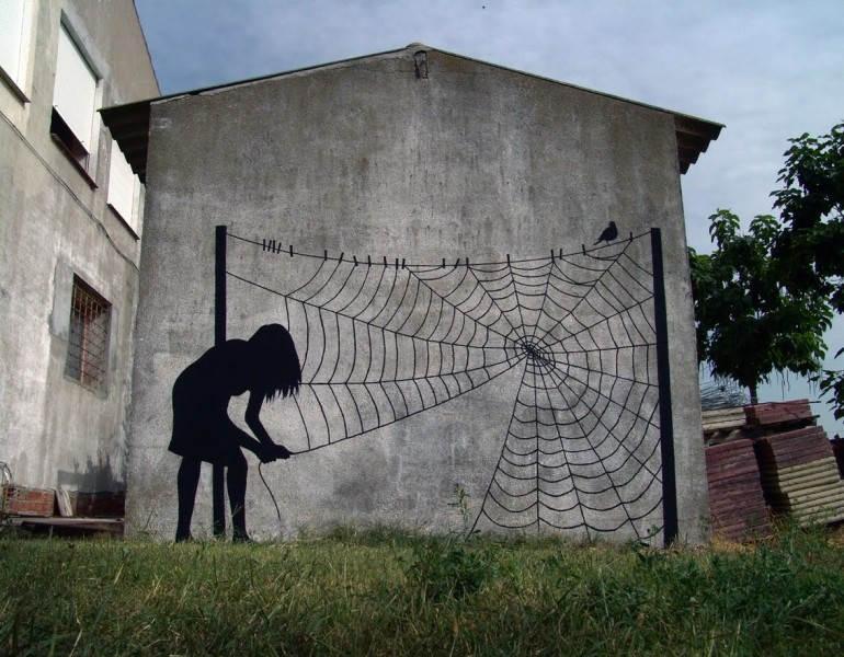 Уличное искусство в Испании, автор Pejac