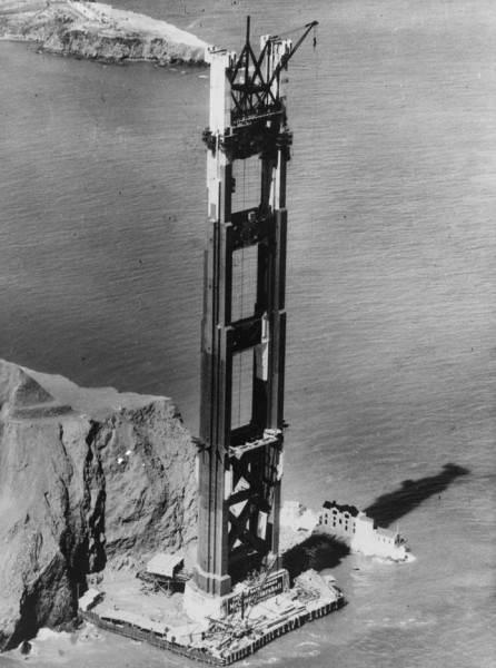 Фотография строительства Американского моста «Золотые ворота», 1937 год