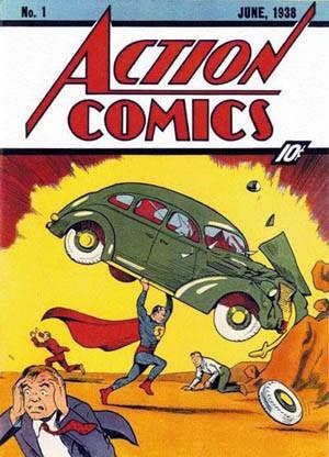 Фотография первой обложки комикса про Супермена, 1938 года