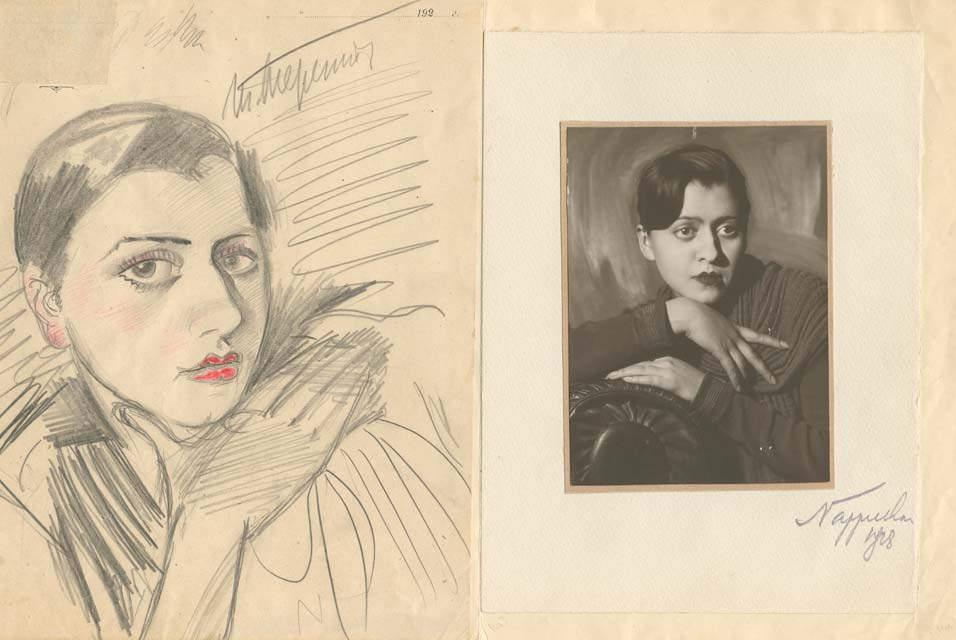 Портрет актрисы. Рисунок: Игорь Терентьев, фото: Моисей Наппельбаум (1928 г.)