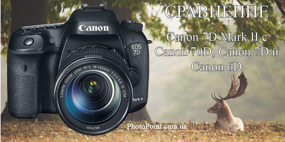 Сравнение Canon 7D Mark II с Canon 70D, Canon 7D и Canon 6D
