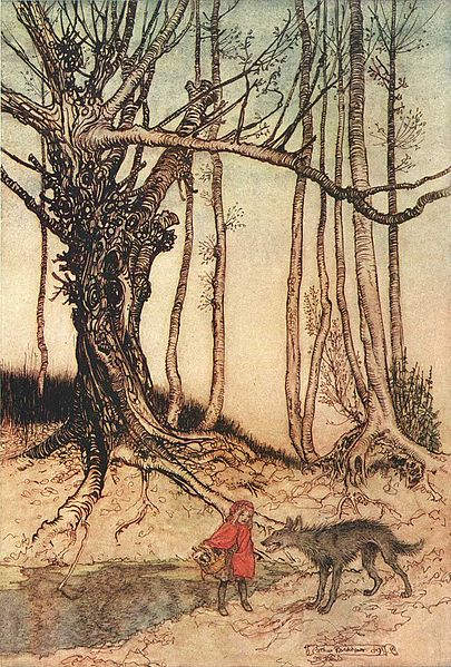 иллюстрация Красная шапочка Артур Рэкем (Arthur Rackham), 1909 год