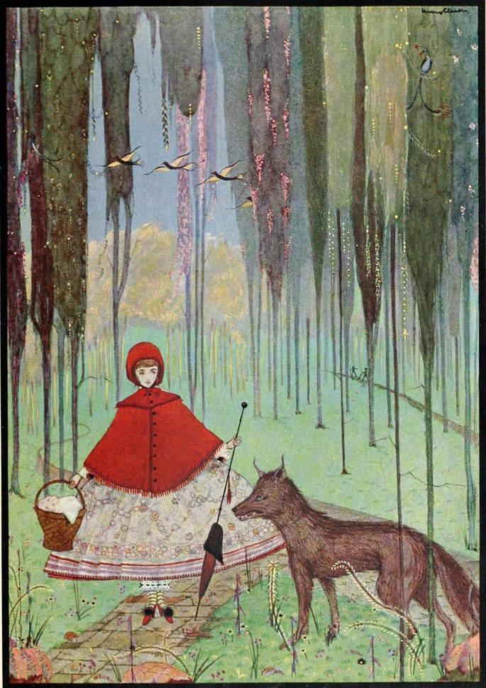 иллюстрация Красная шапочка Гари Кларка (Harry Clarke), 1923 года
