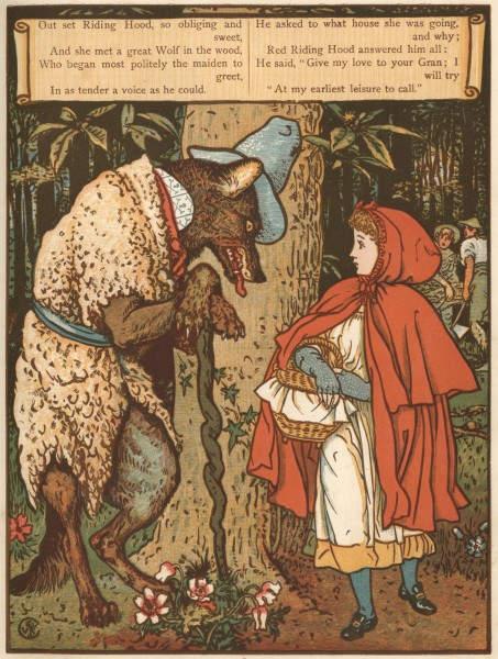 иллюстрация Красная шапочка Уолтер Крейн (Walter Crane ), 1870-е годы