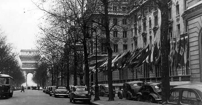 Историческая фотография штаб-квартиры ЮНЕСКО, Париж, 1945 год