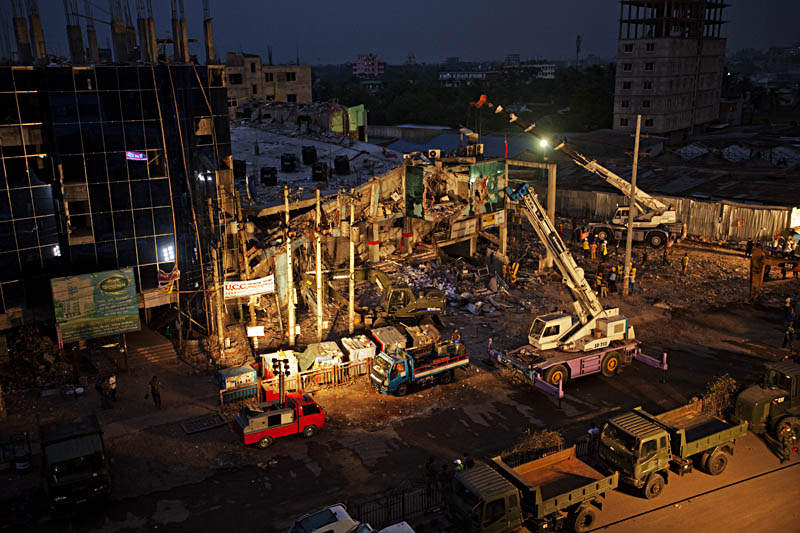 Rana Plaza, Savar. Collapsed building where hundreds of garment workers died