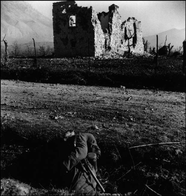 ITALY. Near Cassino, January 1944. A German soldier lies dead following a fight with the US/Canadian First Special Service Force.