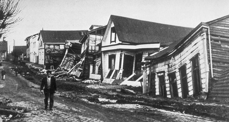 Фотография разрушений после Великого Чилийского землетрясения, 22 мая 1960