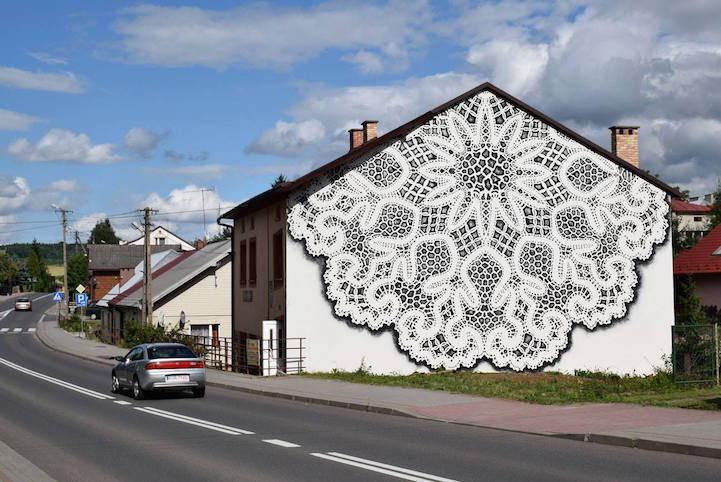 Кружевной стрит-арт в Варшаве от NeSpoon