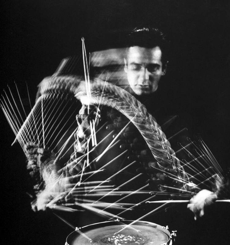 Drummer Gene Krupa playing drum at Gjon Mili's studio. (Photo by Gjon Mili//Time Life Pictures/Getty Images)