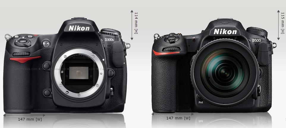 Сравнение размеров Nikon D500 и Nikon D300s